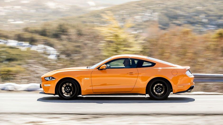 2018 Ford Mustang GT in Orange Fury (side profile)