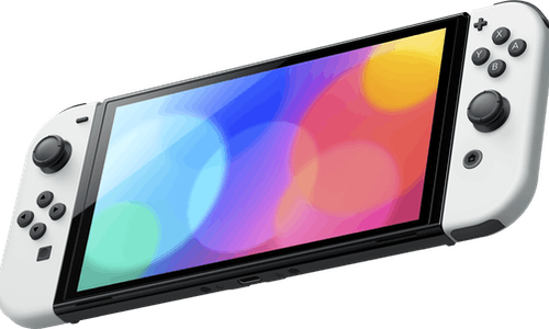 A hero shot of the new Nintendo Switch OLED Model