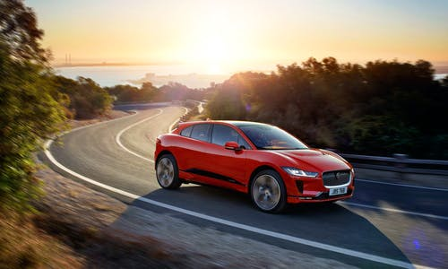 Jaguar I-Pace in the sunset