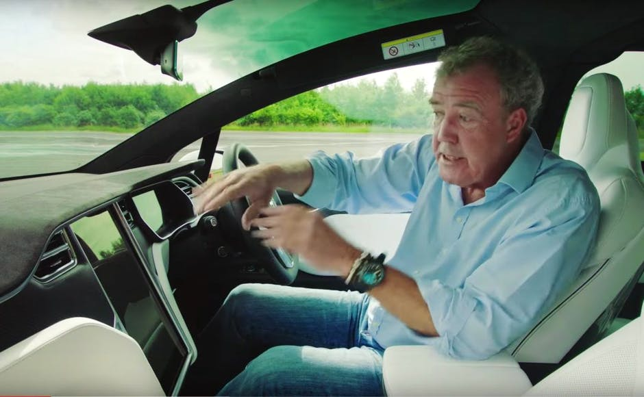 Jeremy Clarkson inside the Tesla Model X SUV on The Grand Tour show