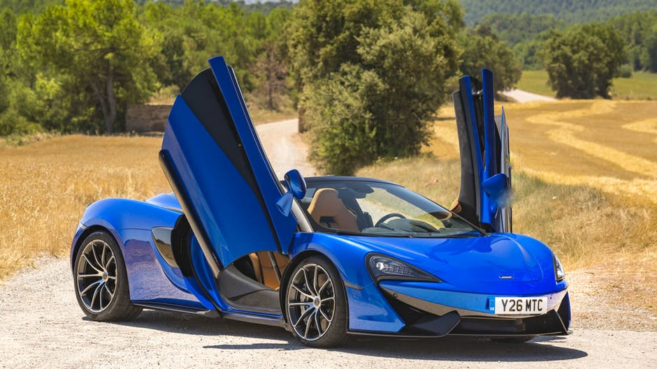 McLaren 570S dihedral doors in open position